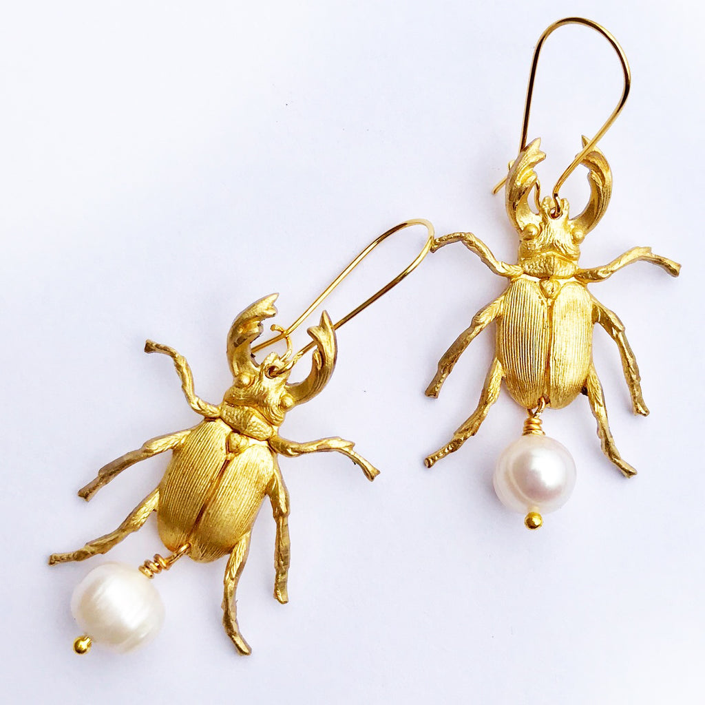 Valentine Viannay - Beetle with Freshwater Pearls Earrings - Wanderlustre
