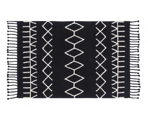 Bereber Black Washable Rug