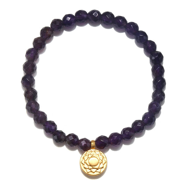 Crown Chakra Stretch Bracelet for Peace + Enlightenment in Amethyst