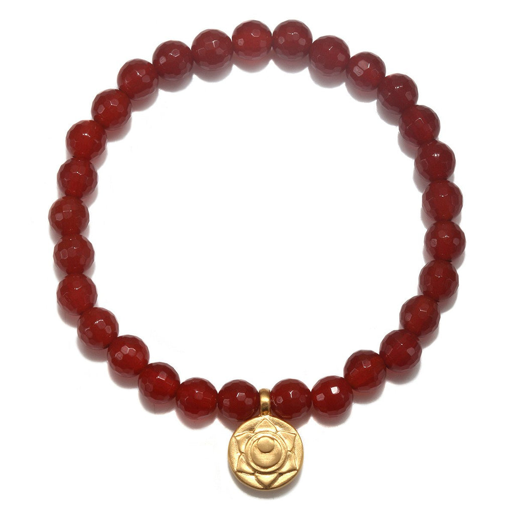 Sacral Chakra Stretch Bracelet for Creativity + Positivity in Carnelian - Wanderlustre