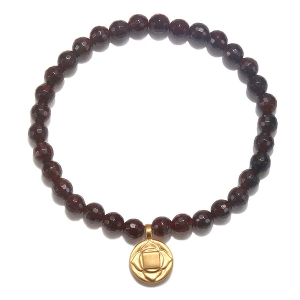 Root Chakra Stretch Bracelet for Security + Stability in Red Garnet