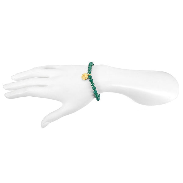 Heart Chakra Stretch Bracelet for Love + Compassion in Green Onyx