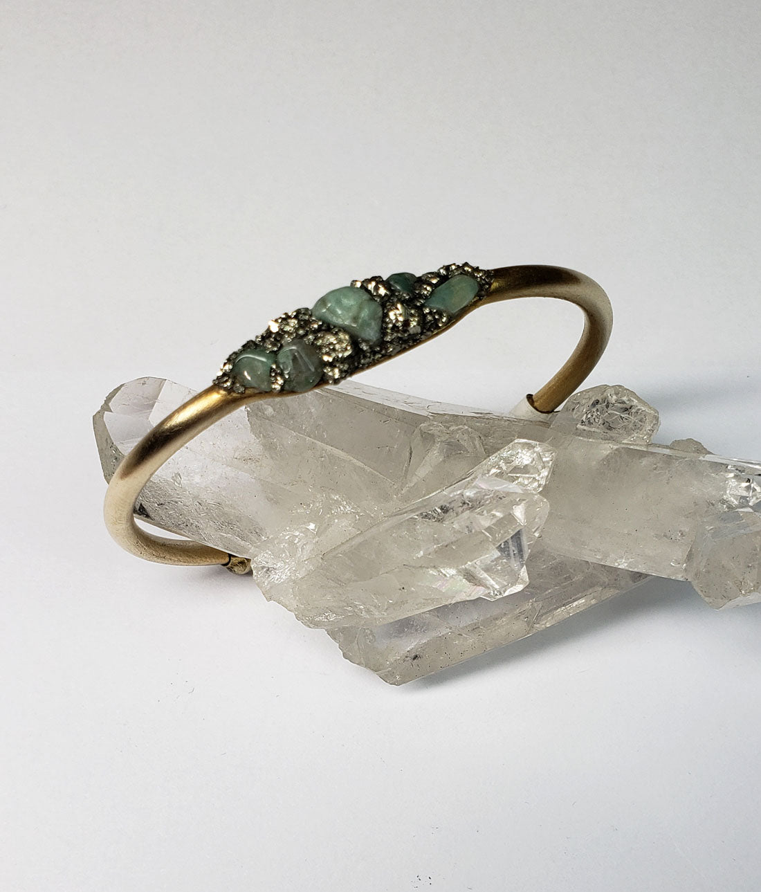 Marly Moretti Brass Cuff with Emerald Stones - Wanderlustre