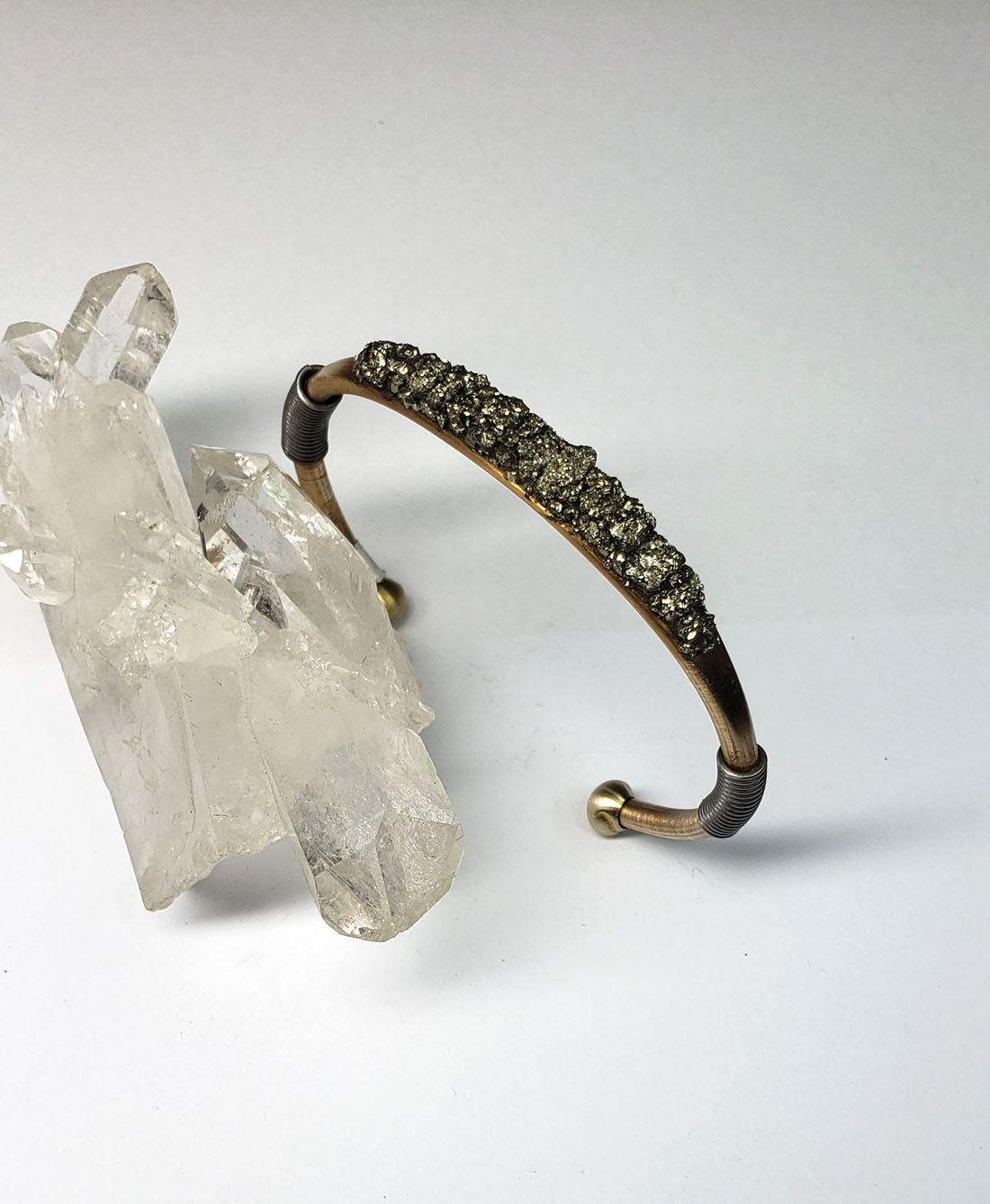 Marly Moretti Brass Cuff with Silver Accents and Pyrite Stones - Wanderlustre