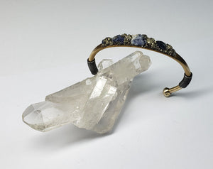 Marly Moretti Brass Cuff with Silver Accents and Sodalite Stones - Wanderlustre