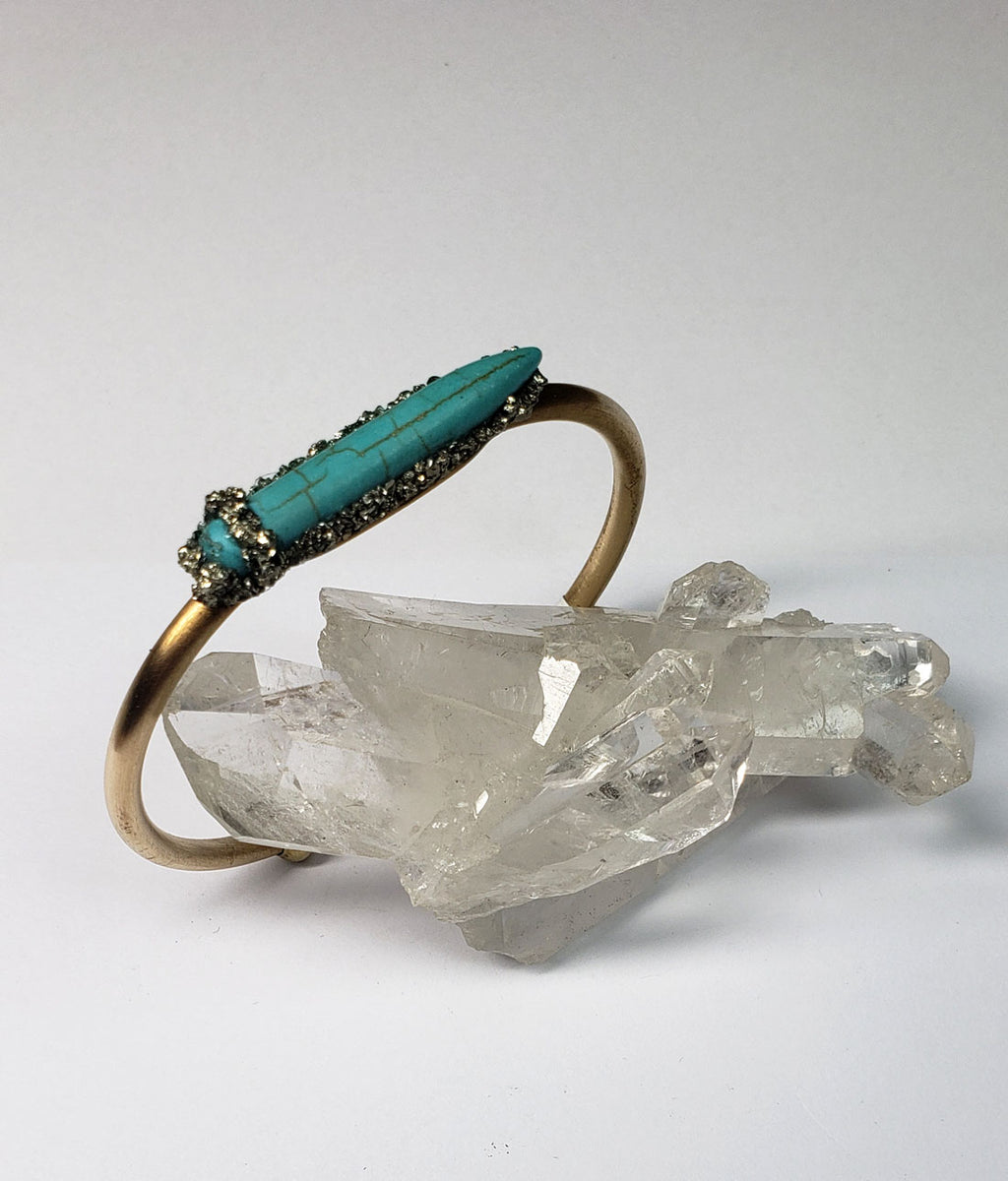 Marly Moretti Brass Cuff with Pointed Turquoise Stone - Wanderlustre
