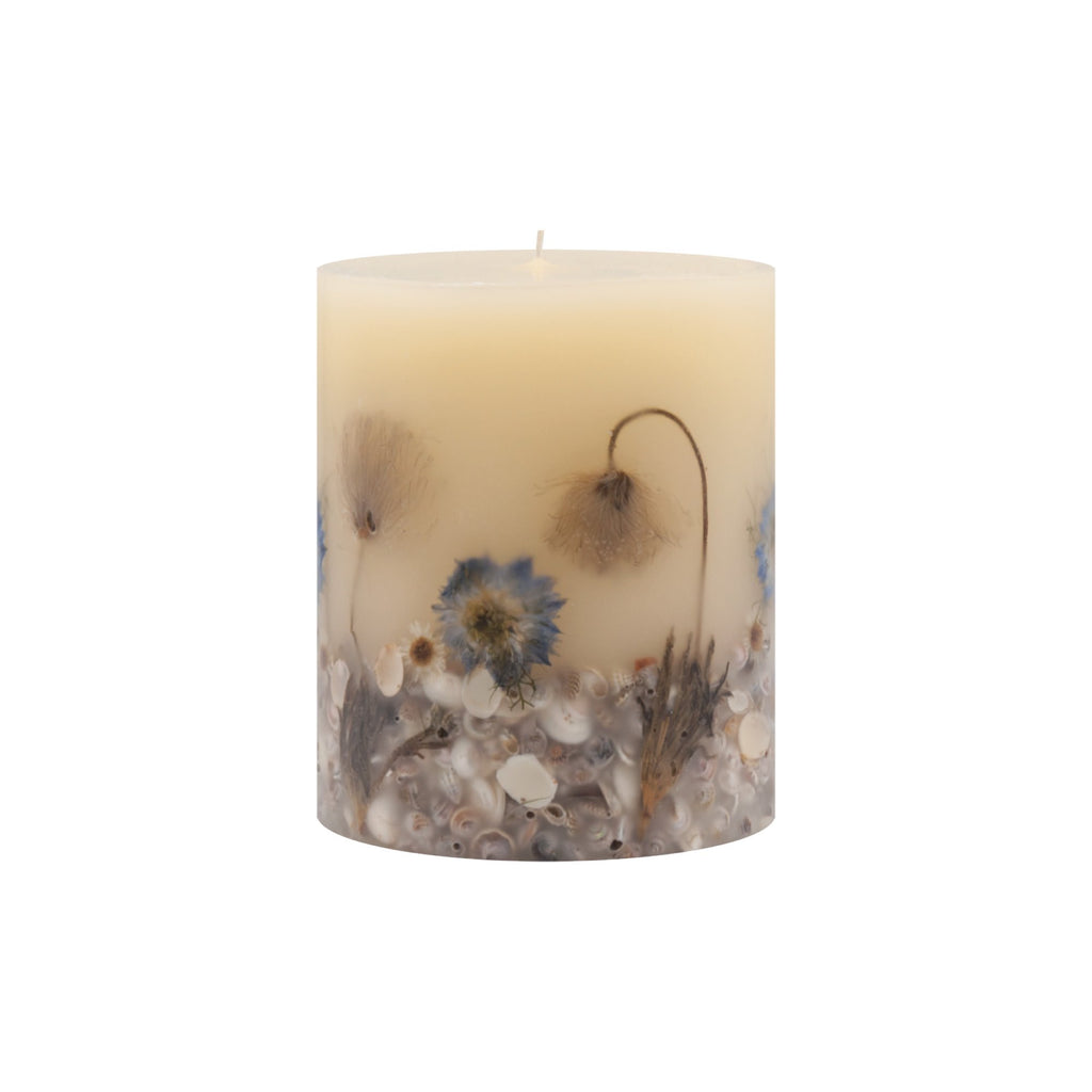 Rosy Rings Beach Daisy Round Botanical Candle - Wanderlustre