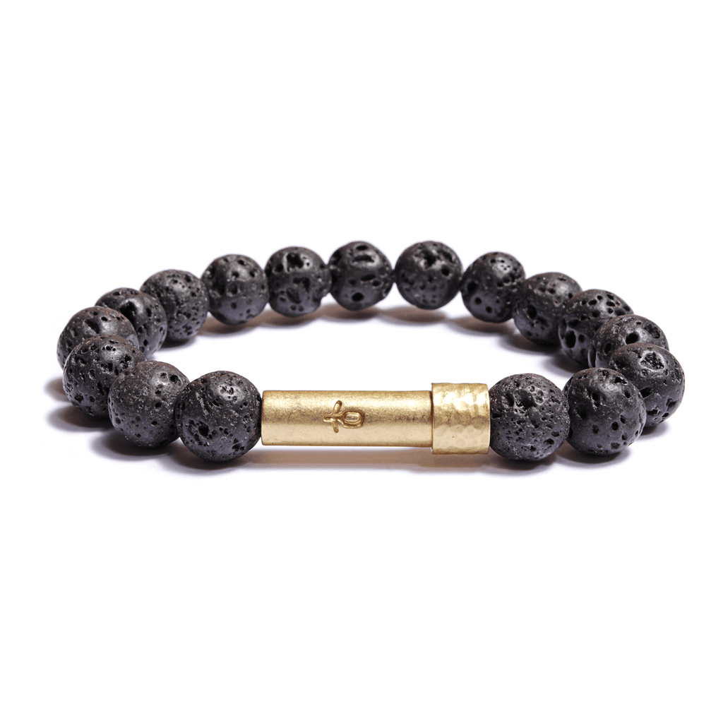 Wishbeads Black Lava Rock Bracelet - Grounding + Calming - Wanderlustre