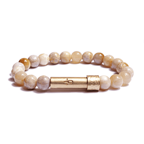 Wishbeads Confidence + Motivation Bracelet in Coral Jade
