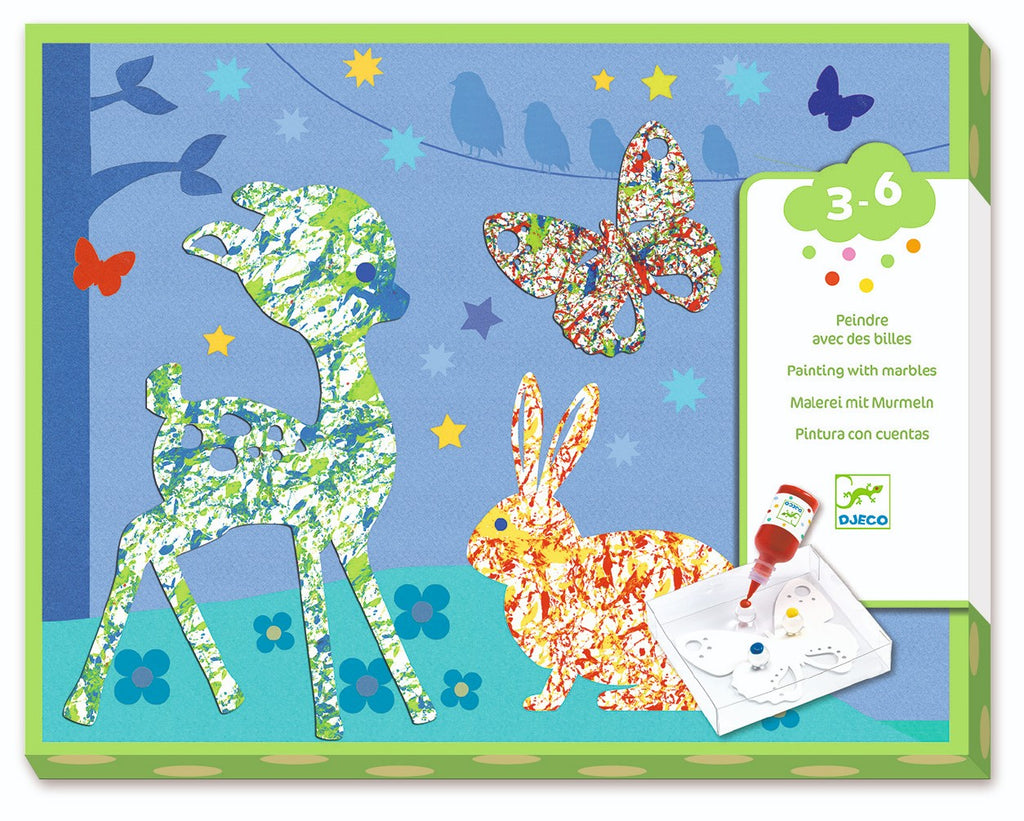 Colorful Parade Painting with Marbles Kit by Djeco - Wanderlustre