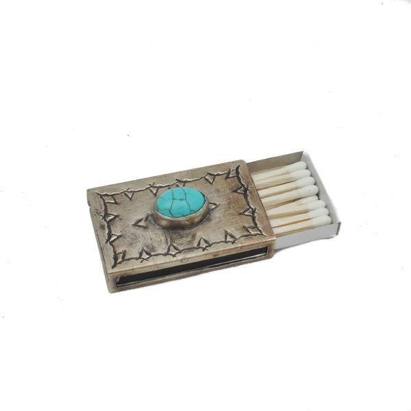 Small Stamped MatchBox with Turquoise Inlay - Wanderlustre