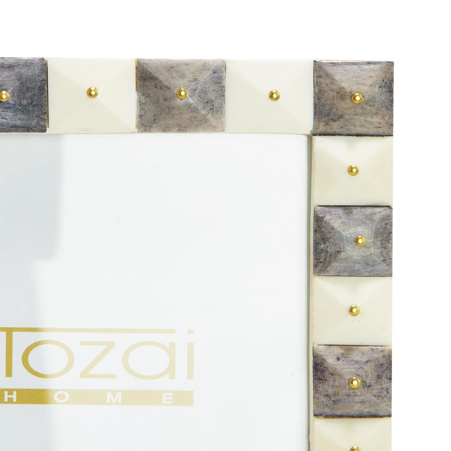 Gray and White Photo Frames with Gold Studs