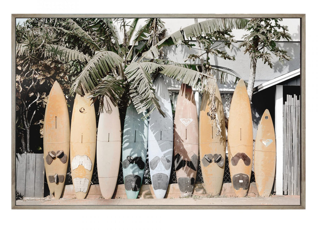 Surfboards Ink on Canvas Framed Print - Wanderlustre