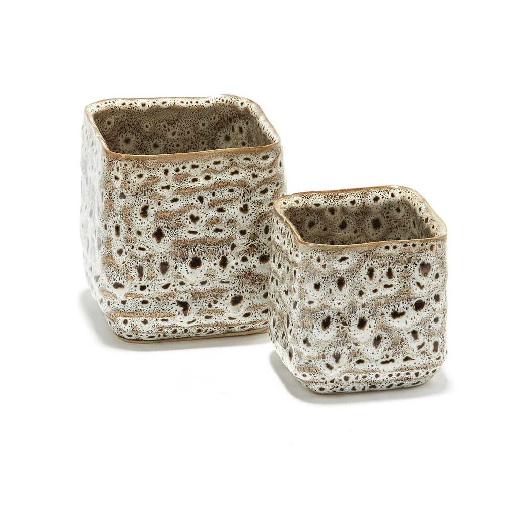 Katla Brown Speckled Hand-Crafted Ceramic Containers - Wanderlustre