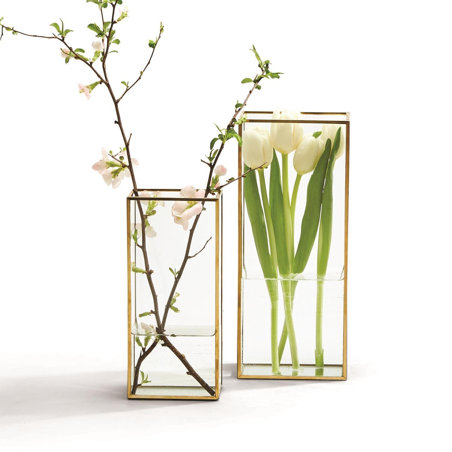 Windows Square Vases with Gold Metal Trim