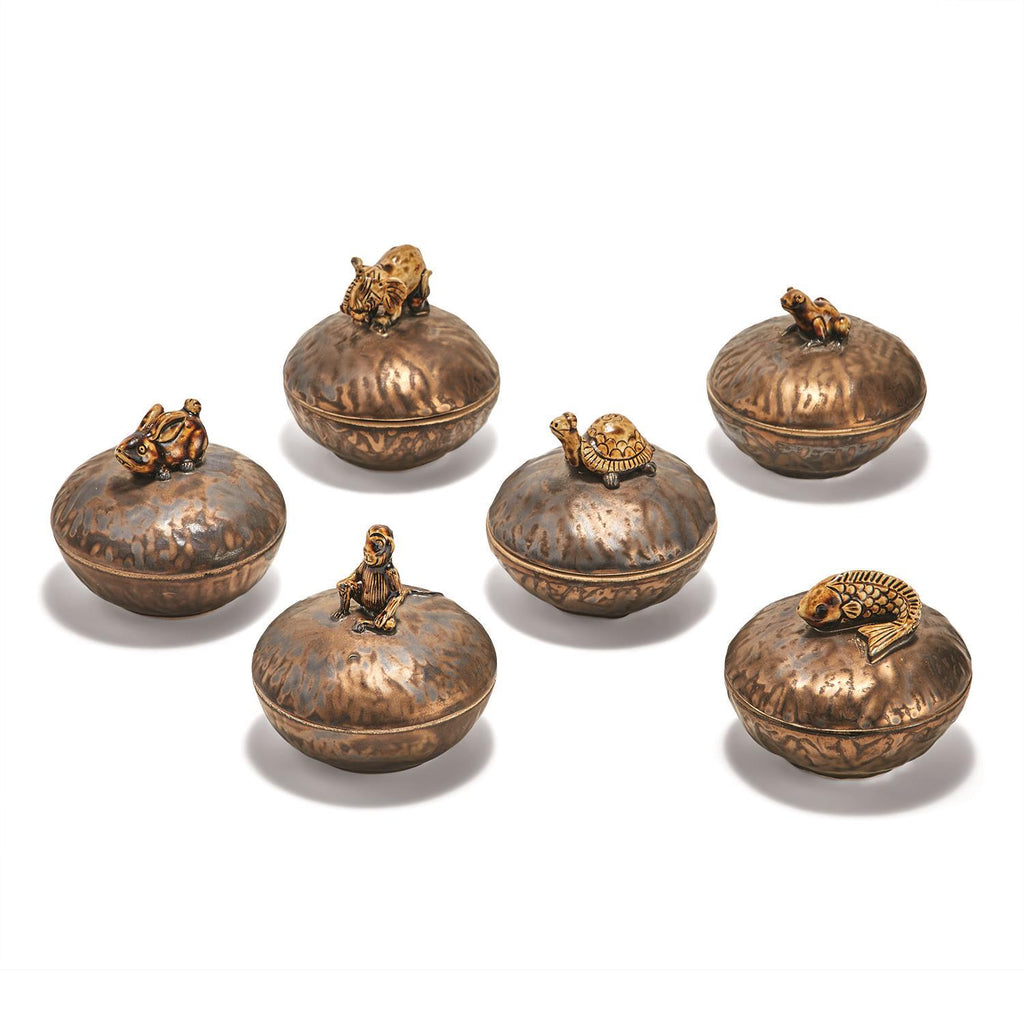 Bronze Decorative Box with Ceramic Animal - Wanderlustre
