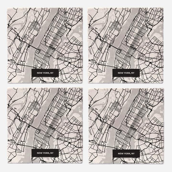 New York Modern Map Coasters - Set of 4 - Wanderlustre