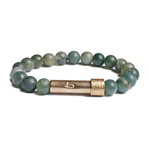 Wishbeads Soothing + Centering Bracelet in Grass Agate