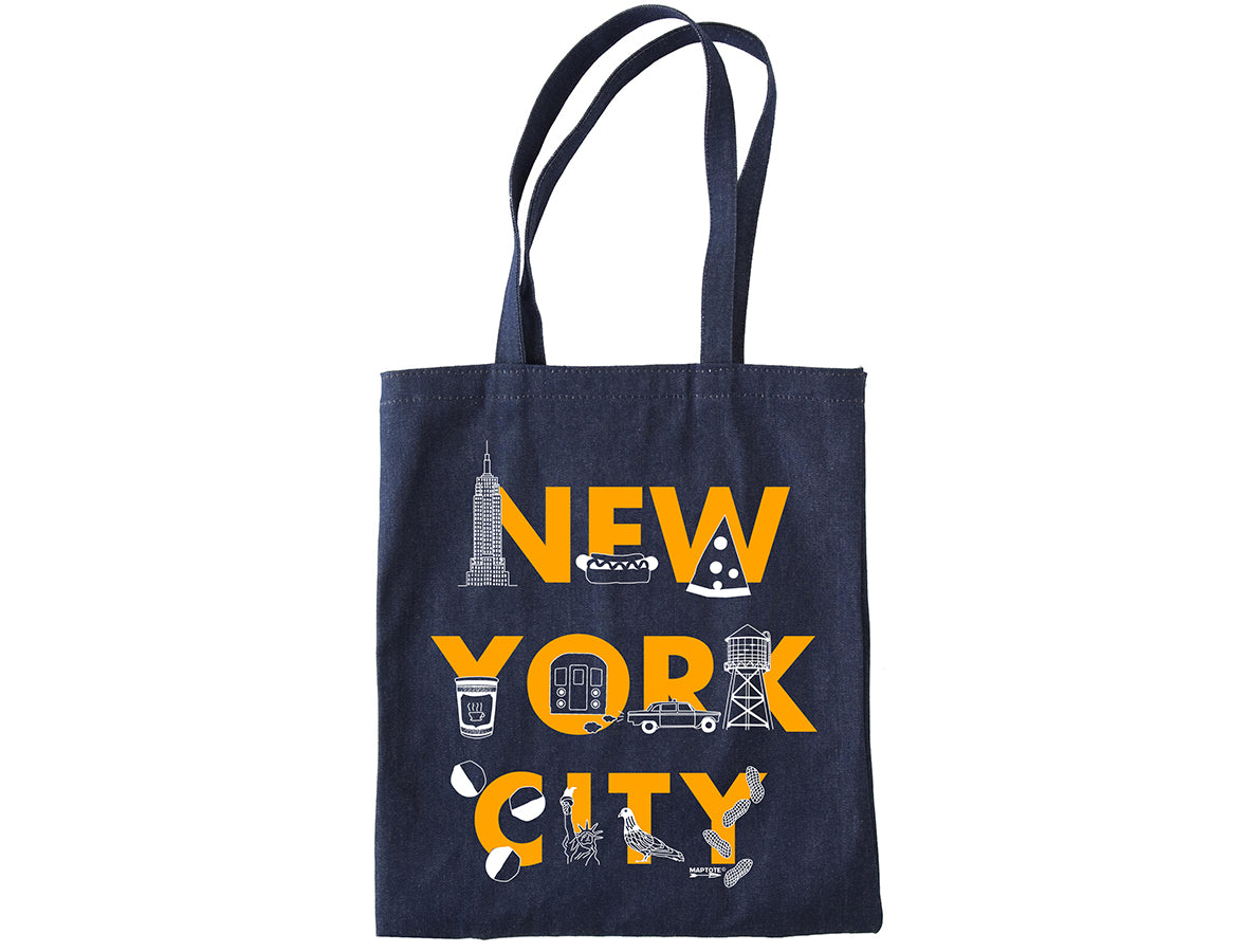 Maptote New York City Font Denim Tote - Wanderlustre