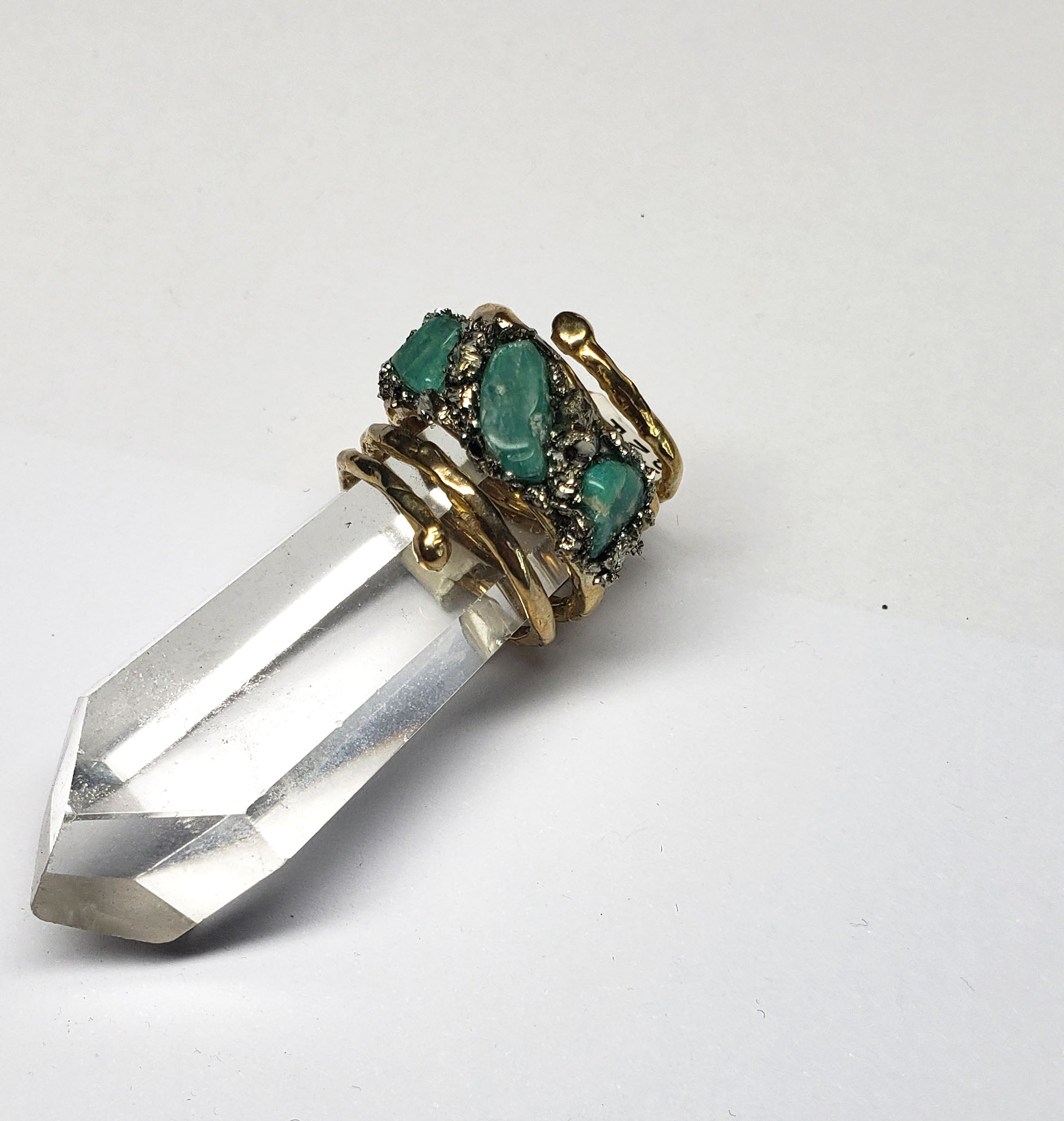 Marly Moretti Gold Brass Spiral Ring with Amazonite Stones - Wanderlustre