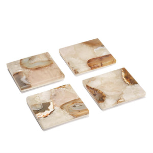 Agate Coasters with Marble Base (set of 4)