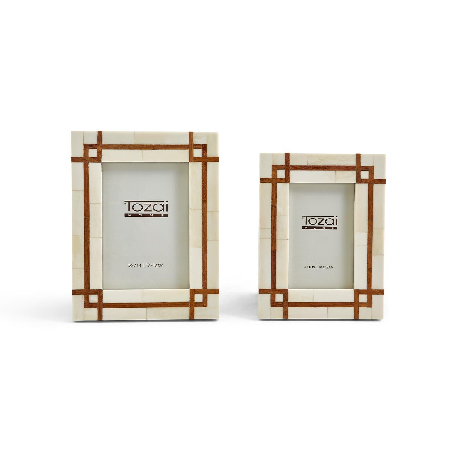 Bordered Photo Frames with Wood Inset