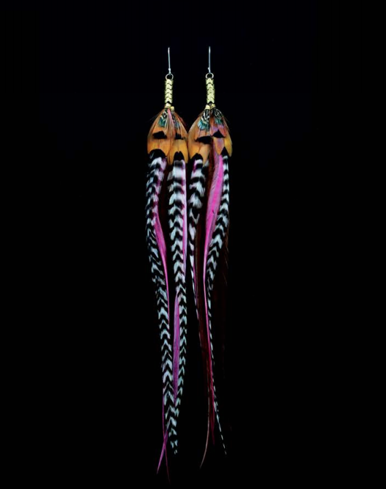 Long Antique Brass Earrings - Magenta - Wanderlustre