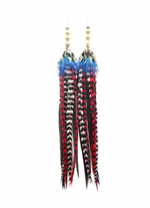 Load image into Gallery viewer, Long Antique Brass Earrings - Blue/Red - Wanderlustre