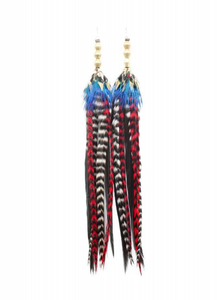 Long Antique Brass Earrings - Blue/Red - Wanderlustre