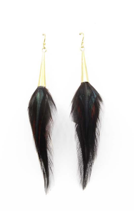 Short Brass Cone Earrings - Black - Wanderlustre