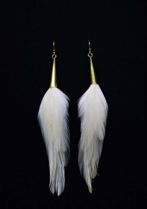Short Brass Cone Earrings - White - Wanderlustre