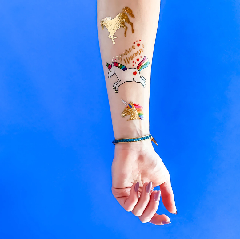 Flash Tattoos Unicorn Dreams Temporary Tattoo Set