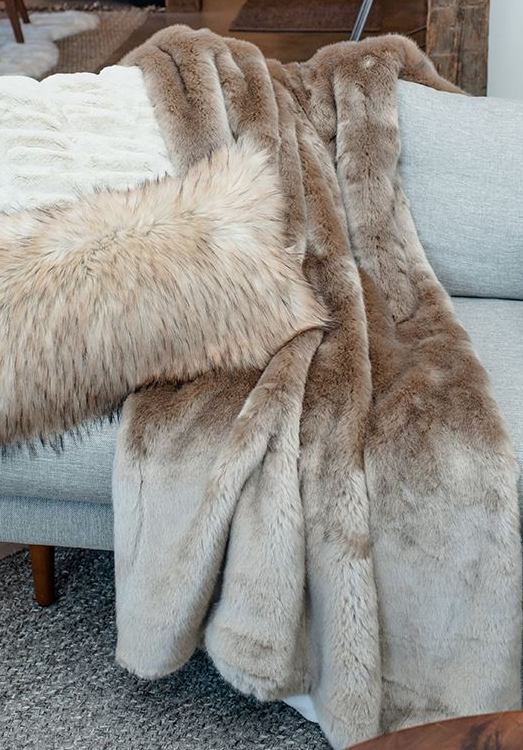 Couture Collection Champagne Mink Faux Fur Throw