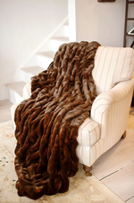 Load image into Gallery viewer, Couture Collection Mahogany Mink Faux Fur Throw