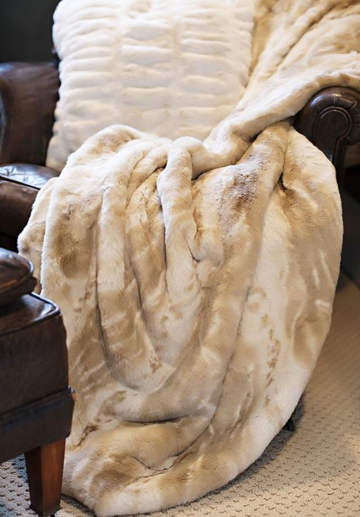 Couture Collection Blonde Mink Faux Fur Throw