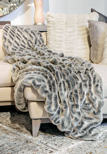 Couture Collection Glacier Grey Mink Faux Fur Throw