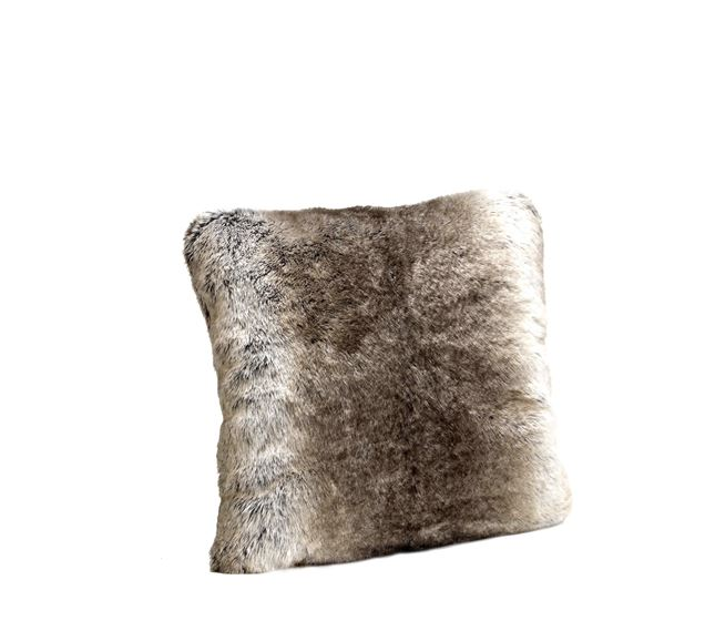 Signature Series Grey Rabbit Faux Fur Pillow