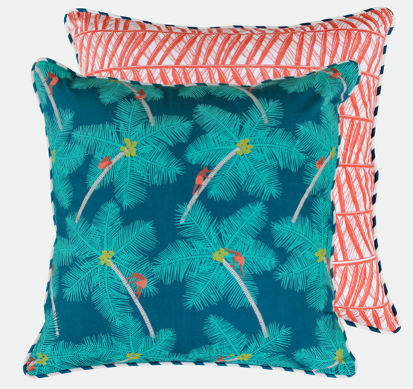 Safomasi Coconut Palm Picker Print Cushion Cover