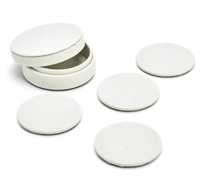 Set of 4 Shagreen Coasters in Gift Box - Wanderlustre