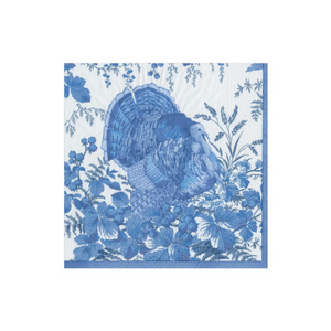 Thanksgiving Turkey Toile Paper Cocktail Napkins in Blue (pack of 20)