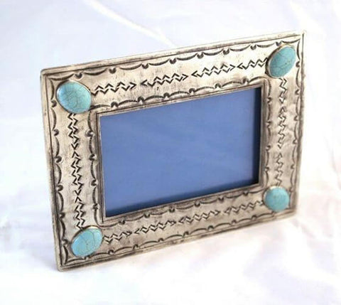 Stamped 4x6 Frame with Turquoise Inlay