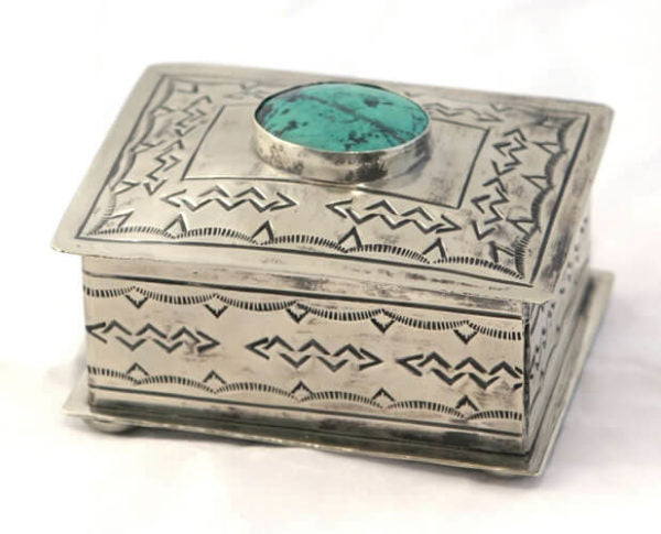 Small Stamped Box with Turquoise Inlay