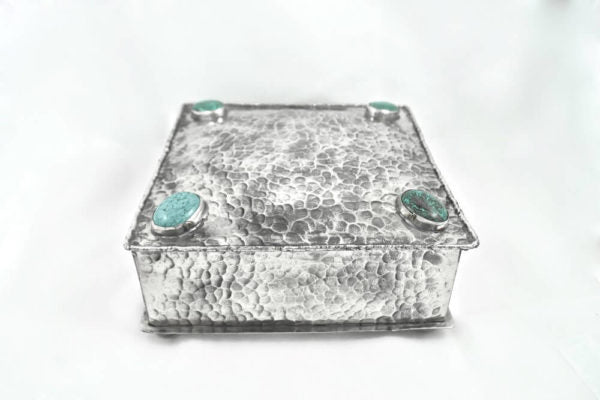 Stamped Square Box with Four Turquoise Stones - Wanderlustre