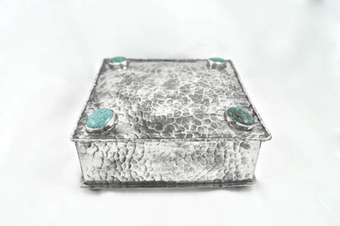 Stamped Square Box with 4 Stone Turquoise Inlay