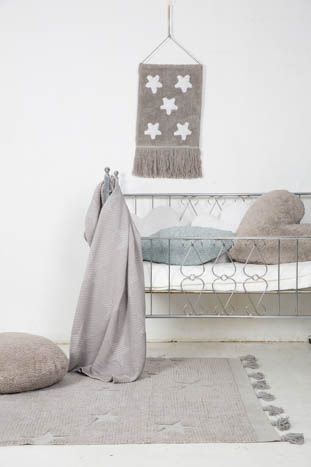 Hippy Stars Washable Rug - Grey - Wanderlustre