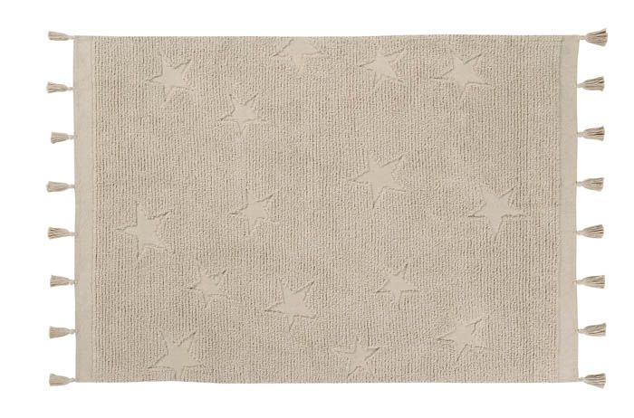 Hippy Stars Washable Rug - Natural - Wanderlustre