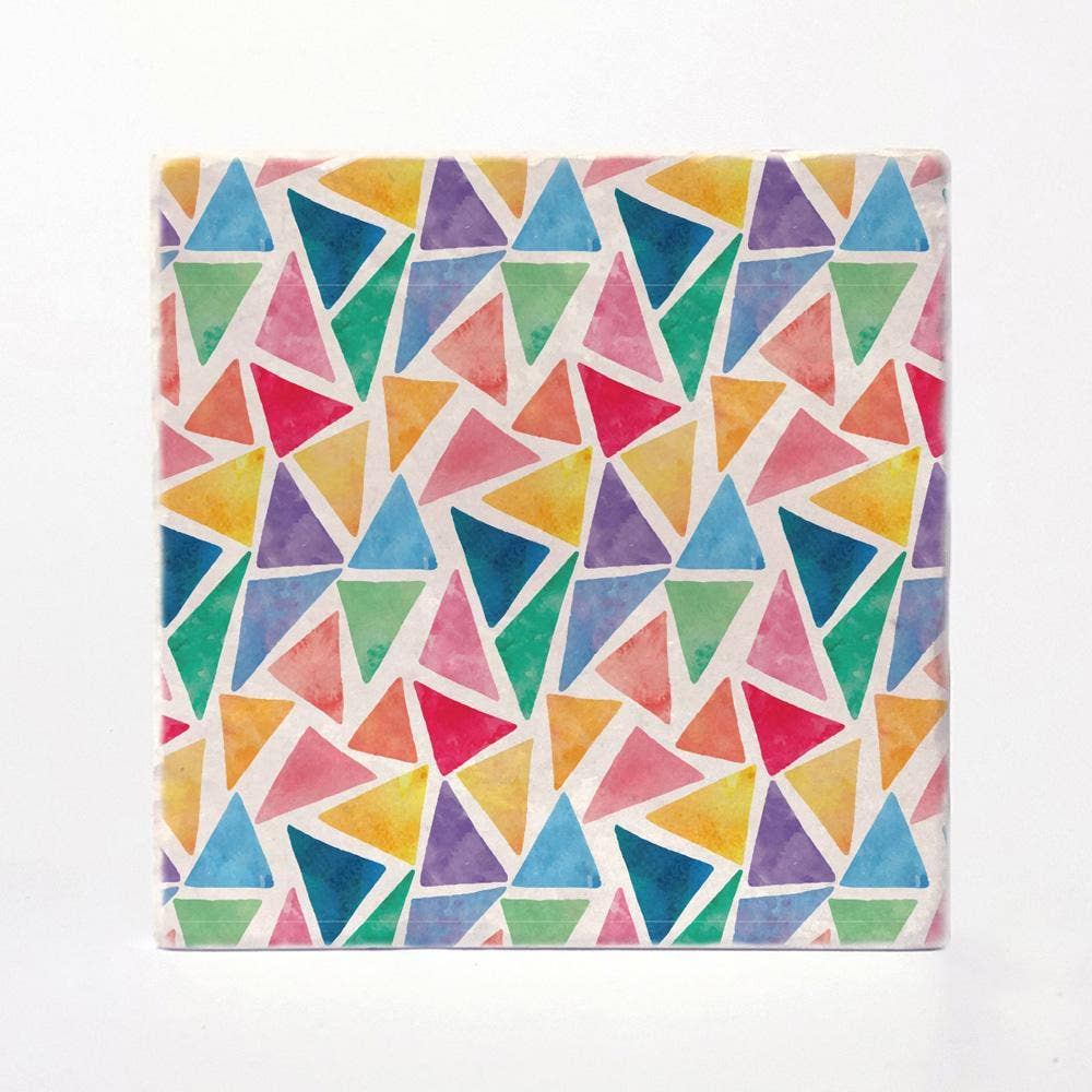Watercolor Triangles Coaster Tiles - Set of 4 - Wanderlustre