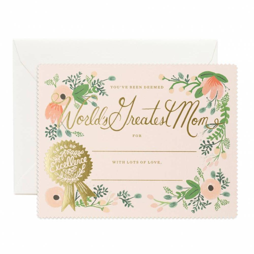 World's Greatest Mom Certificate Card - Wanderlustre