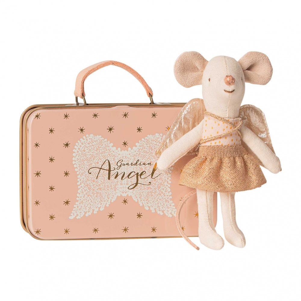 Maileg Guardian Angel Mouse in Suitcase - Wanderlustre
