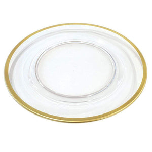 Caspari Acrylic Plate Charger in Clear with Gold Rim - Wanderlustre